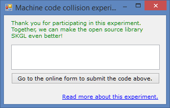 Machinecode experiment